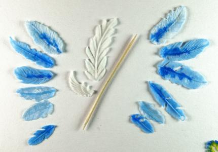 Перья из флористической целлюлозной глины Exact и прозрачного холодного фарфора